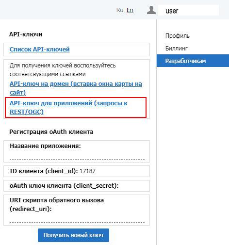 выбрать пункты Разработчикам и затем API-ключ прямого доступа (для приложений)